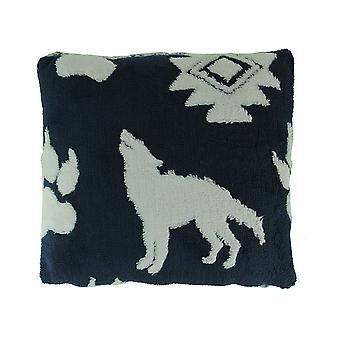 Navy und weiß Wolf Melange Ultra weichem Plüsch Fleece Throw Pillow
