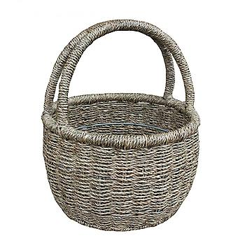 Twin Handle Round Seagrass Shopping Basket