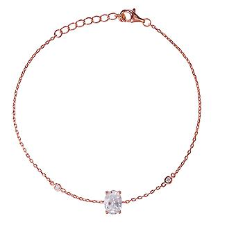 Orphelia 925 Silver Rose Bracelet with Middle Stone 19,5 CM  ZA-7419