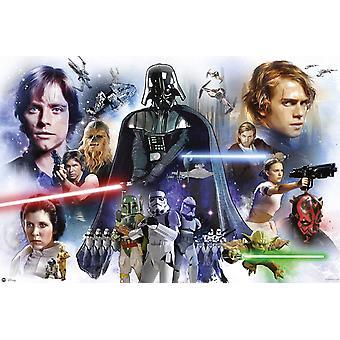 Star Wars poster epsiode 1 tot en met 6 tekens