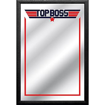 Top boss mirror printed, multi colored, with black frame in wood.