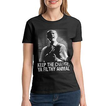 Home Alone Ya Filthy Animal Women's Black T-shirt
