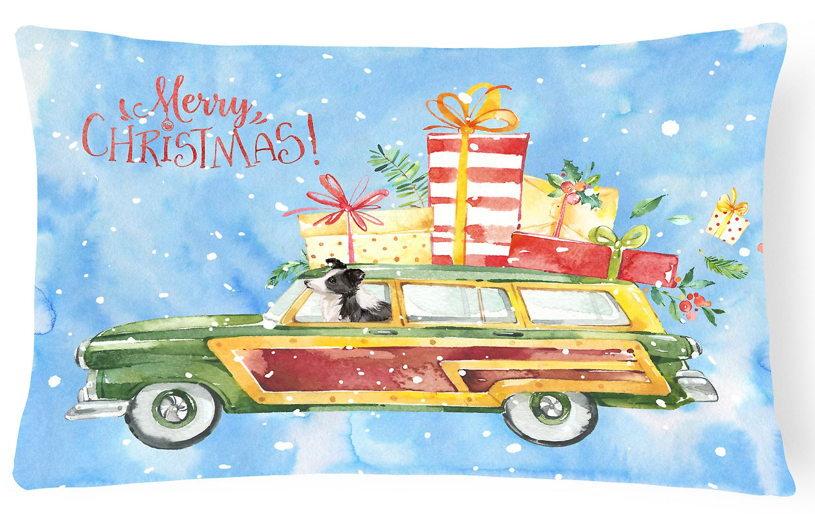 Canvas Collie Pillow Border Fabric Decorative Merry Christmas CxBrode