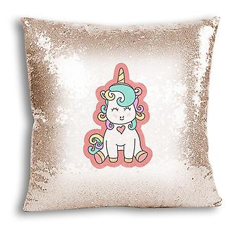 i-Tronixs - Unicorn Printed Design Champagne Sequin Cushion / Pillow Cover with Inserted Pillow for Home Decor - 19