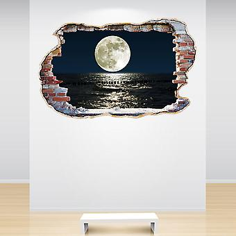 Full Colour Moon Smashed Wall 3D Effect Wall Sticker