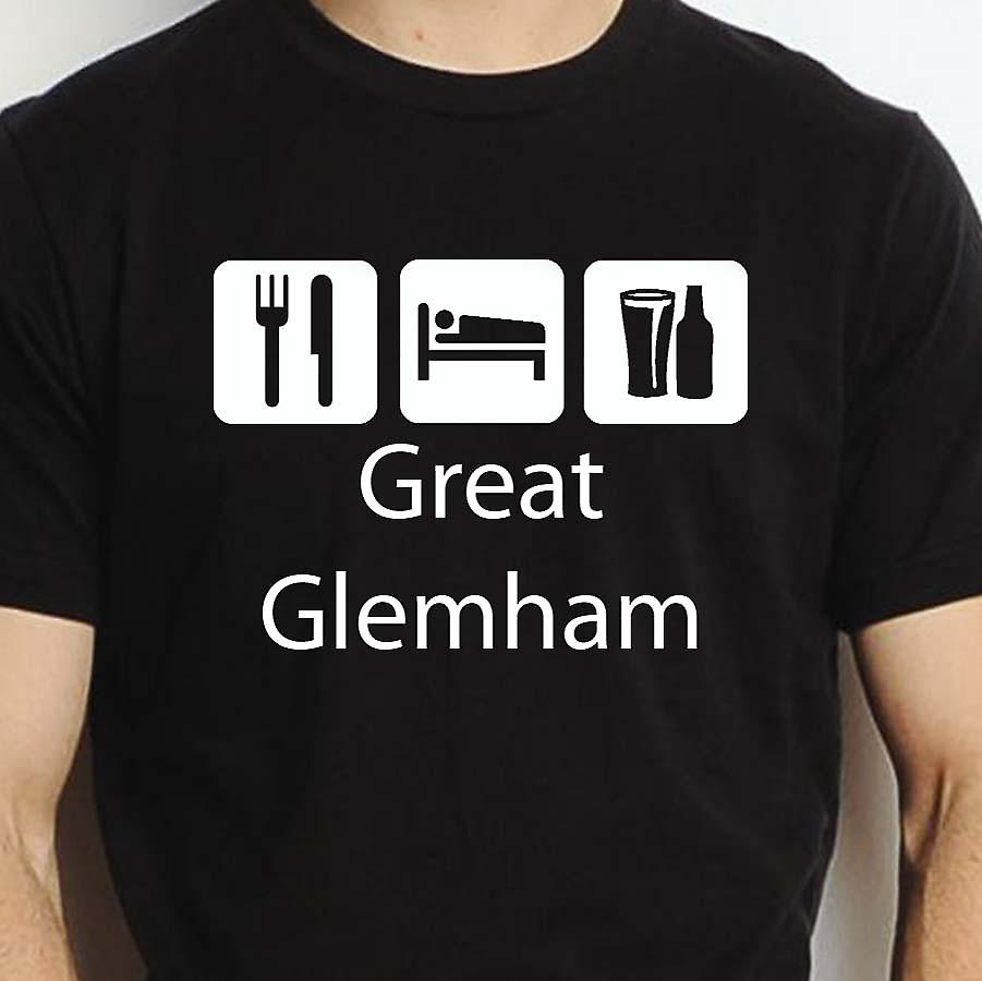 Eat Sleep Drink Greatglemham Black Hand Printed T shirt Greatglemham Town