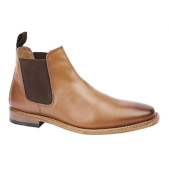 Mens All Leather Slip On Goodyear Welted Chelsea Formal Ankle Boots Shoes