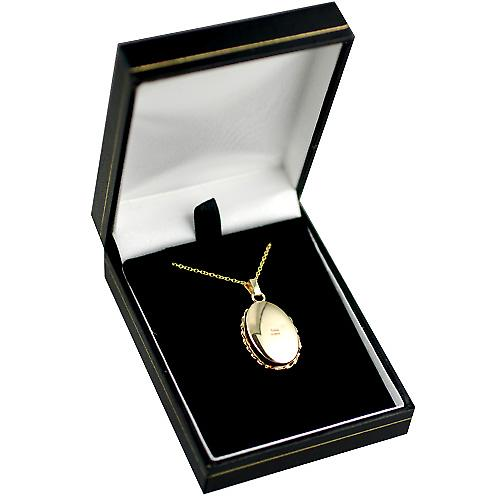 9ct 3 Colour Gold 23x16mm diamond cut oval Locket with a cable Chain 16 inches Only Suitable for Children