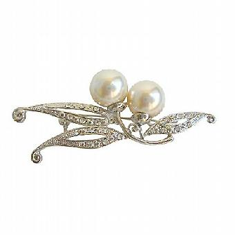 Clear Simulated Diamonds Ivory Faux Pearl Brooch in Silver Casting