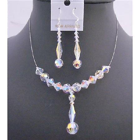 Bridal Wedding AB Swarovski Crystals Drop Down Jewelry 8mm Long Bicone