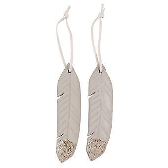 TRIXES 2st hängande fjäder Xmas harts ornament grå