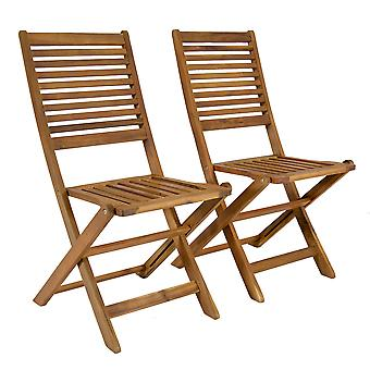 Charles Bentley FSC Acacia Wood Pair of Outdoor Foldable Chairs - Slatted Design Oil Coated Natural Colour