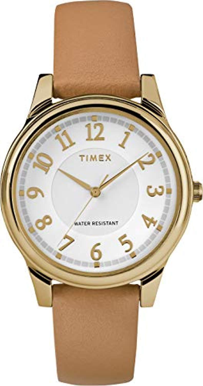 Análogo de cuarzo Timex mujer cuero clásico correa TW2R87000