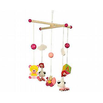 BIGJIGS Pink Stork Mobile Wooden Toy
