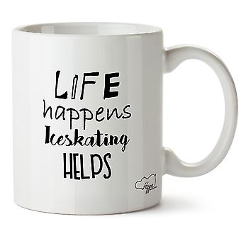 Hippowarehouse Life Happens Iceskating Helps Printed Mug Cup Ceramic 10oz