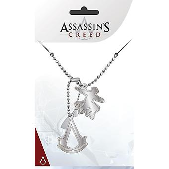 Creed medaglietta logo argento Assassin, metallo, due rimorchi.