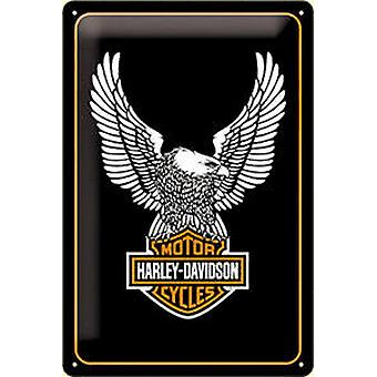 Harley Davidson Eagle logo embossed metal sign   300mm x 200mm (na)