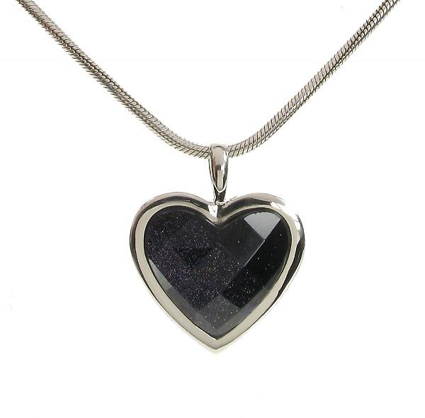 Cavendish French Silver Surround Blue Sandstone Heart Pendant without Chain