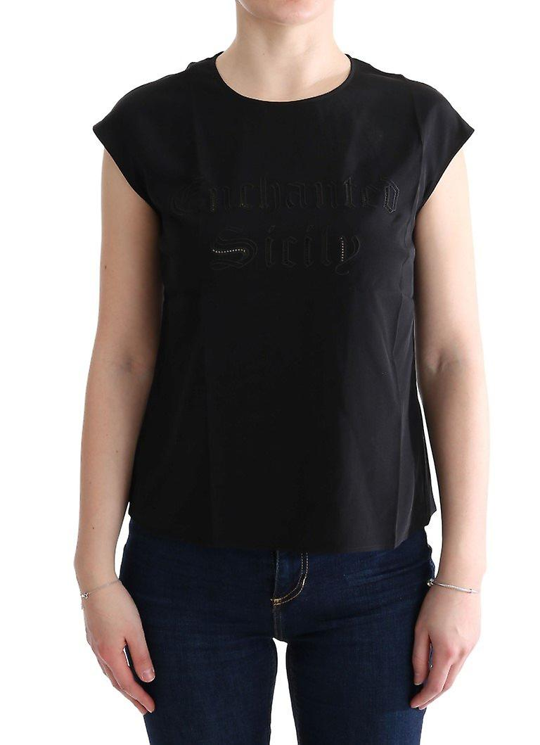 Noir enchanted sicily silk chemisier t-shirt