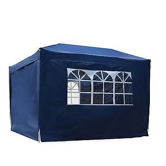 Outsunny 3 x 3 m Water Resistant Pop Up Gazebo Party Tent Canopy Marquee Free Storage Bag - Blue