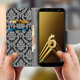 Samsung Galaxy A6 plus étui porte-cartes stand fonction motif oriental noir