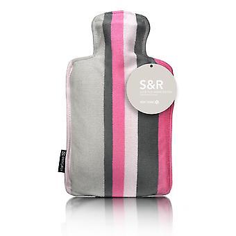 S&R Pink Grey Stripes Designer Knit 2L Hot Water Bottle