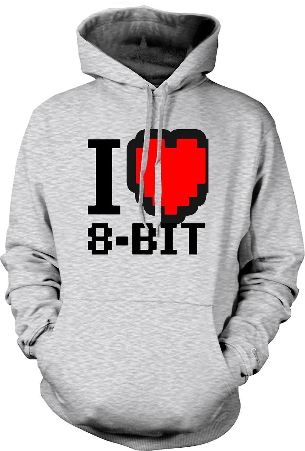 Mens Hoodie - jag älskar 8 Bit - Retro - dator