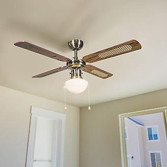 QAZQA Industrial Ceiling Lamp Fan 100cm Wood - Wind