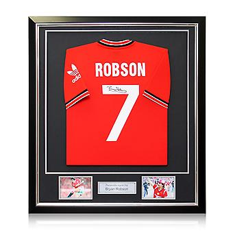 Bryan Robson Signed Manchester United 1984 Shirt In Deluxe Black Frame