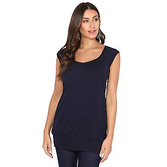 KRISP KRISP dames laag gesneden Plain hip lange lijn top T shirt tuniek zomervakantie 7604