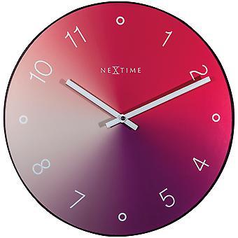 NeXtime - Wall clock - Ø 40 cm - Glass / Metal - Red - 'Gradient'
