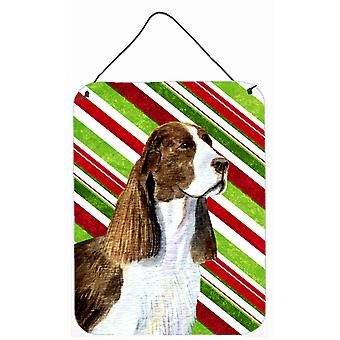 Springer Spaniel Candy Cane Holiday Christmas Metal Wall or Door Hanging Prints