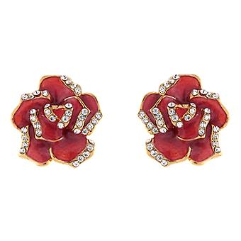 Clip On Earrings Store Red Enamel & Clear Crystal Rose Clip On Earrings