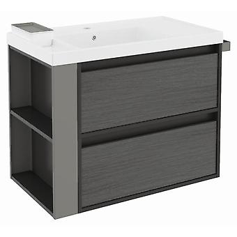 Bath+ Sink cabinet 2 Drawers Front Resin Anthracite Slate-Grey-80