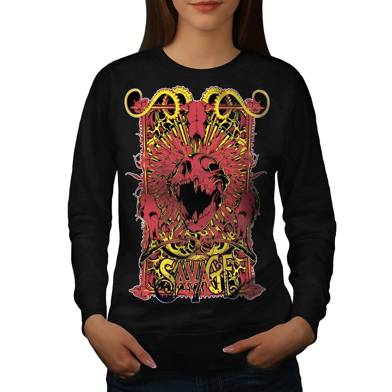 Savage Monster Death Hell Devil Women Black Sweatshirt | Wellcoda