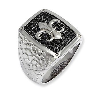 Sterling Silver and Black CZ Brilliant Embers Mens Ring - Ring Size: 9 to 11