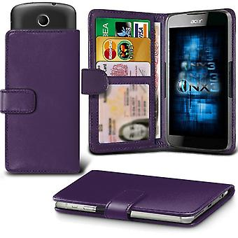 ONX3 (Dark Purple) Huawei Honor 8 Lite Case Universal Adjustable Spring Wallet ID Card Holder with Camera Slide and Banknotes Slot