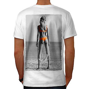 Beach Girl Bikini Sexy Men White T-shirt Back | Wellcoda
