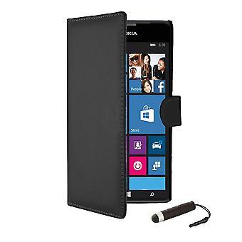 Bogen tegnebog PU læder case cover til Nokia Lumia 620 + stylus - sort