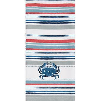 Seafood Kitchen Blue Crab Embroidered Red Blue White Striped Tea Dish Towel