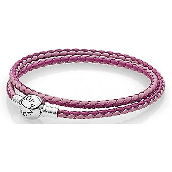Pandora Mixed Pink Woven Double-Leather Charm Bracelet - 590747CPMX-D2