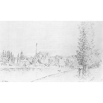 Camille Pissarro - View of Pontoise - 1867 Poster Print Giclee