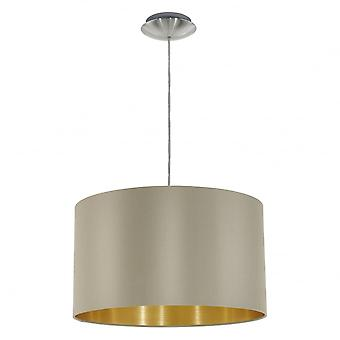 Eglo Maserlo Taupe Drum Shade Pedant Hanging Light, 380mm