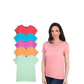 Agiato kvinders grundlæggende V hals T-Shirt 6-Pack