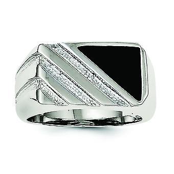 Sterling zilveren solide gepolijst Open back Mens gesimuleerd Onyx Ring - Ringmaat: 9 t/m 11