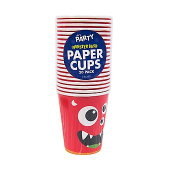 Pack Of 20 Children's Monster Birthday Party Cups Tableware Accessory