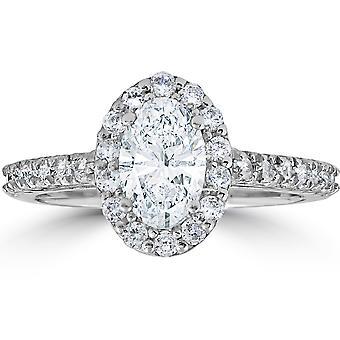 1 1 / 2ct Oval Clarity Enhanced Diamond Halo förlovningsring 14K vitguld
