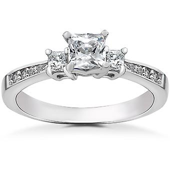 7/8 ct Princess Cut Diamond 3-Stone Solitaire Engagement Ring 14k White Gold