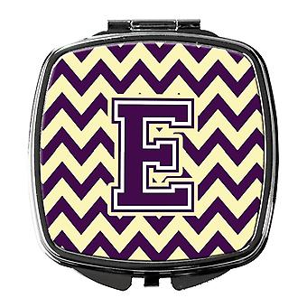 Carolines Treasures  CJ1058-ESCM Letter E Chevron Purple and Gold Compact Mirror