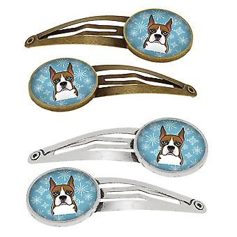 Carolines tesori BB1657HCS4 Snowflake Boxer Set di 4 clip per capelli Barrettes